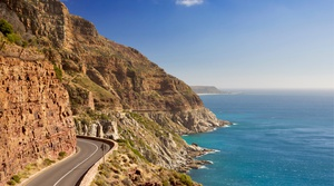 A scenic costal drive along the Chapmans peak drive in Cape Peninsula Cape Town